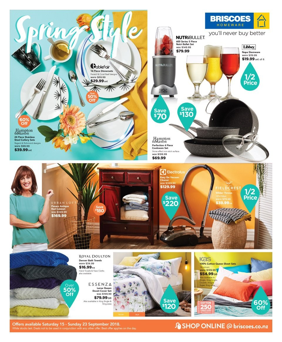 Briscoes mailer - 15.09.2018 - 23.09.2018 - Sales products - cabinet, cookware set, cutlery set, duvet, sheet, queen sheet, quilt cover set, bath towel, towel, Electrolux, vacuum cleaner. Page 1.