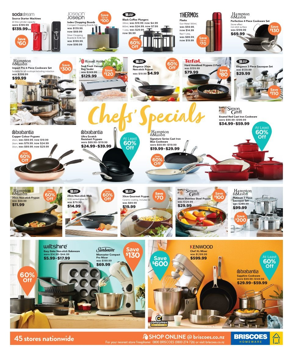 Briscoes mailer - 15.09.2018 - 23.09.2018 - Sales products - cookware set, knife, mixer, stick, tefal, vacuum, gun, iron, wok, kenwood. Page 3.
