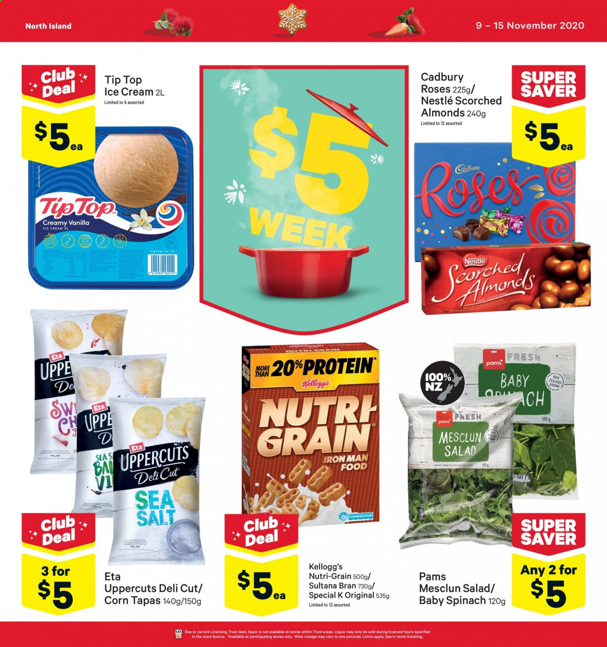 New World mailer - 09.11.2020 - 15.11.2020 - Sales products - almonds, bran, corn, milk chocolate, nestlé, spinach, ice cream, iron, potato chips, protein, chips, chocolate, wine, roses, salt, salad, sea salt, sunflower, tip top, liquor, iron man, trust. Page 1.