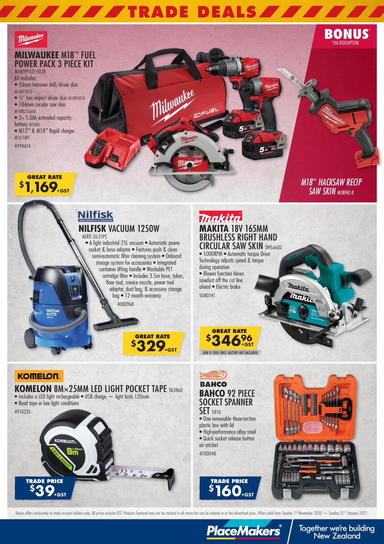 PlaceMakers mailer - 01.11.2020 - 31.01.2021 - Sales products - battery, container, drill, fuel, led light, lid, tape, usb, vacuum, impact driver, pet, charger, hammer, milwaukee, cartridge, spanner, circular saw, saw, blower, hose, storage bag, tools, led. Page 1.