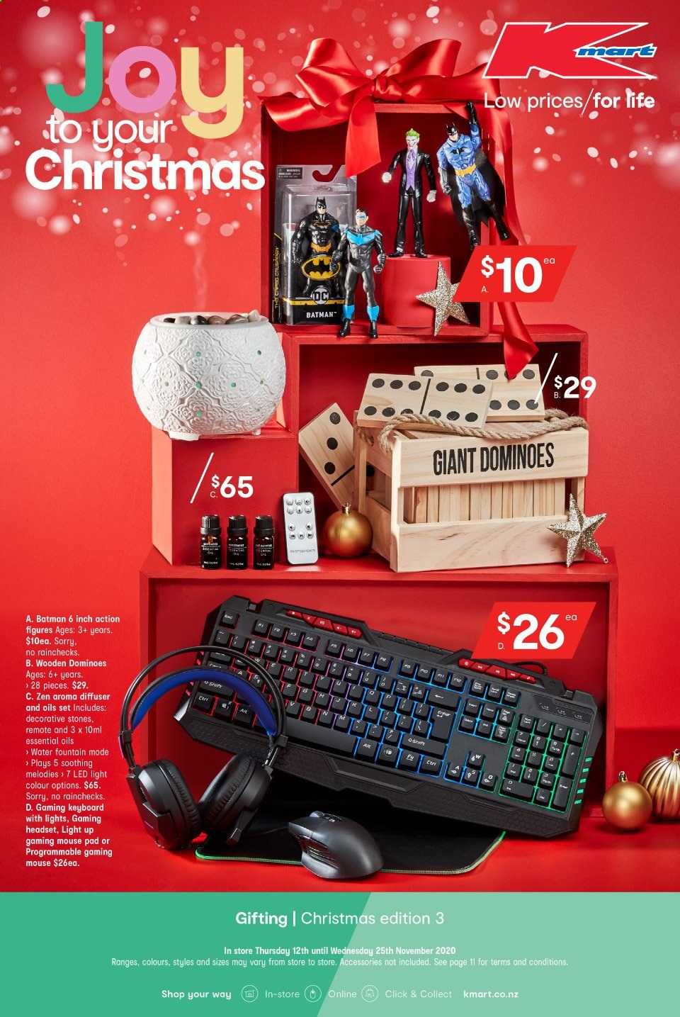 Kmart mailer - 12.11.2020 - 25.11.2020 - Sales products - diffuser, essential oil, gaming keyboard, gaming mouse, led light, mouse, keyboard, water, gaming headset, headset, pad, batman, led. Page 1.