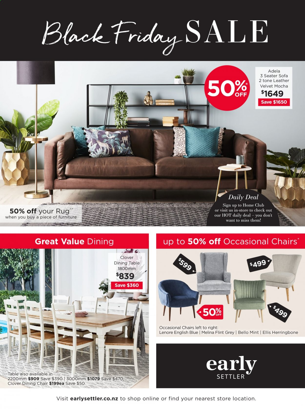 Early Settler mailer - 12.11.2020 - 29.11.2020 - Sales products - dining table, furniture, mint, rug, sofa, table, chair, black friday, dining chair. Page 1.