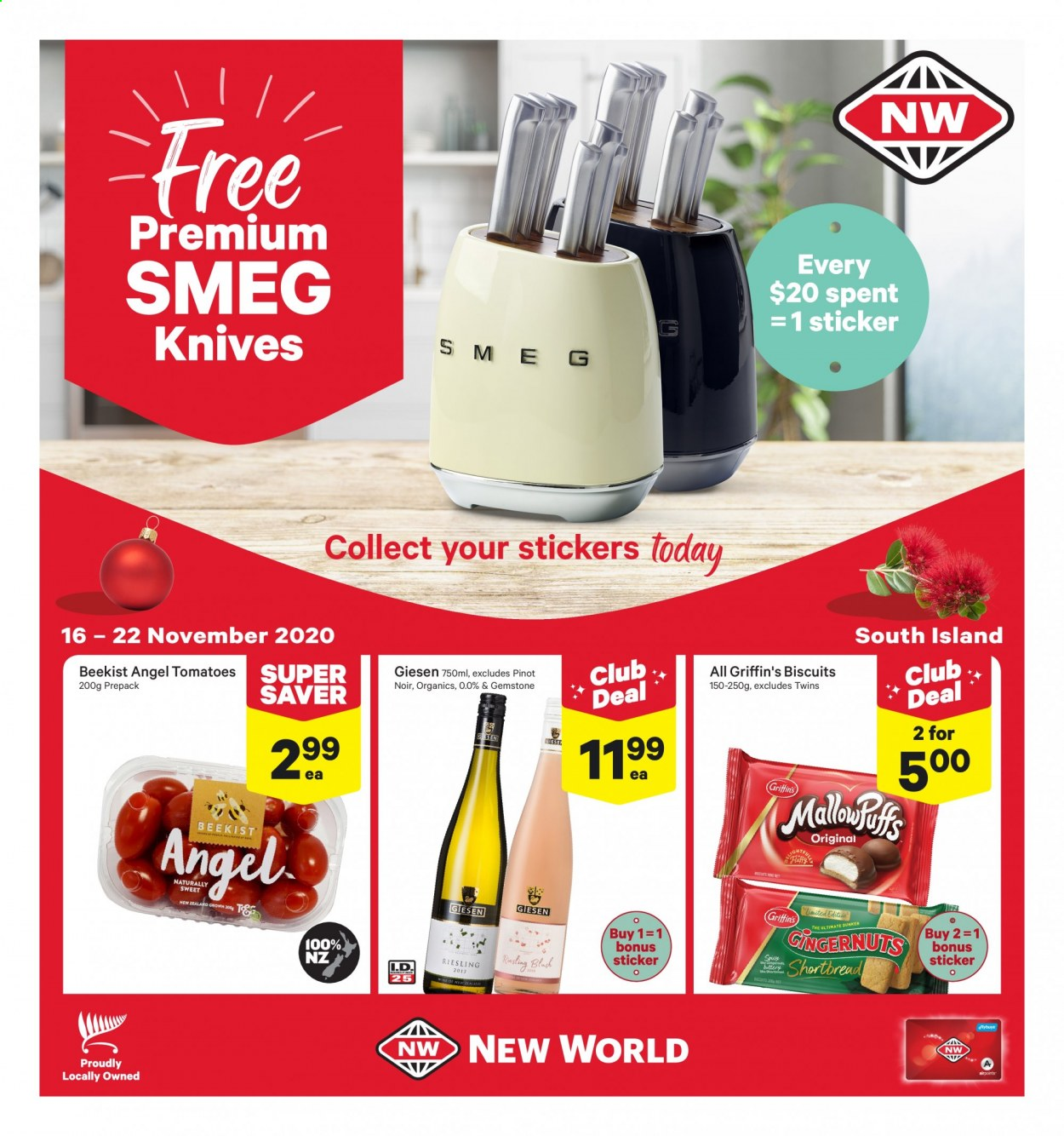 New World mailer - 16.11.2020 - 22.11.2020 - Sales products - angel, biscuits, knife, riesling, stickers, tomatoes, sticker, tomato, smeg. Page 1.