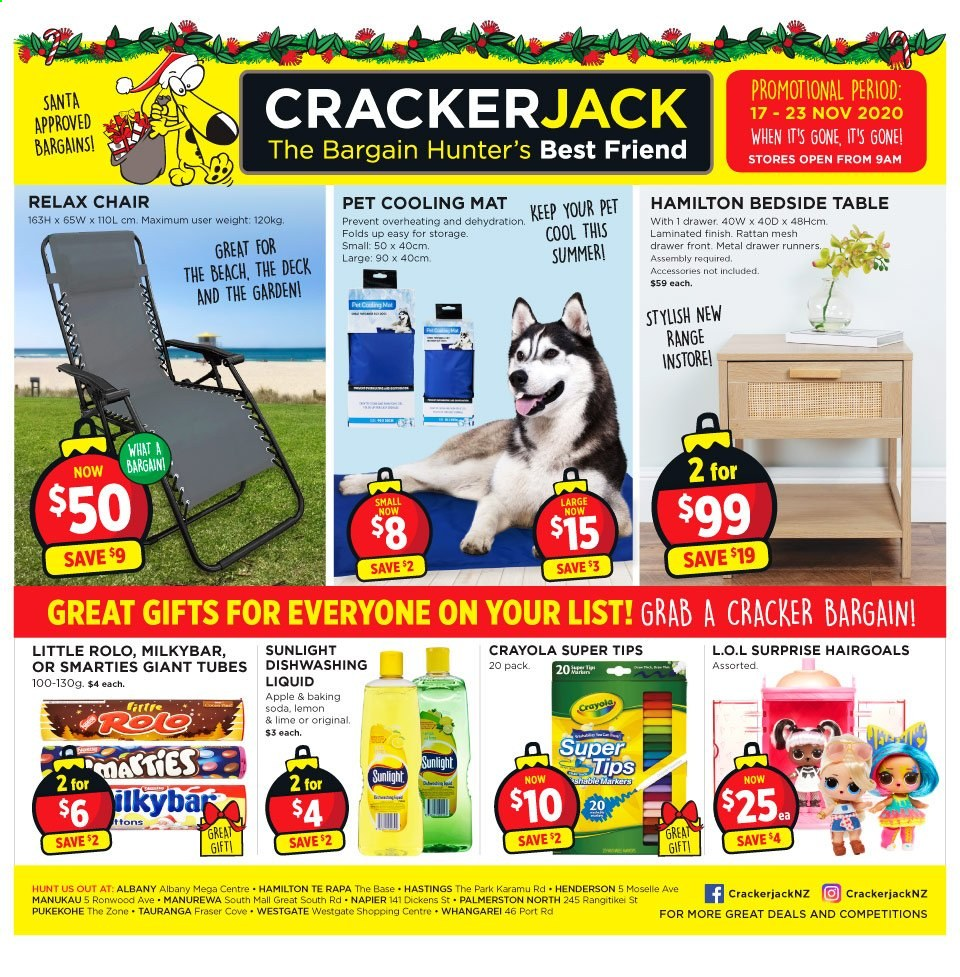 Crackerjack mailer - 17.11.2020 - 23.11.2020 - Sales products - apple, baking soda, bedside table, drawer, lemon, santa, table, chair, pet, soda, cracker, smarties, cool, apples. Page 1.