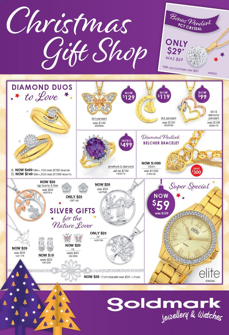 Goldmark mailer - 16.11.2020 - 24.12.2020 - Sales products - bracelet, tree, watch, pendant. Page 1.