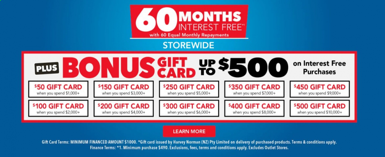 Harvey Norman mailer - Sales products - gift card. Page 1.