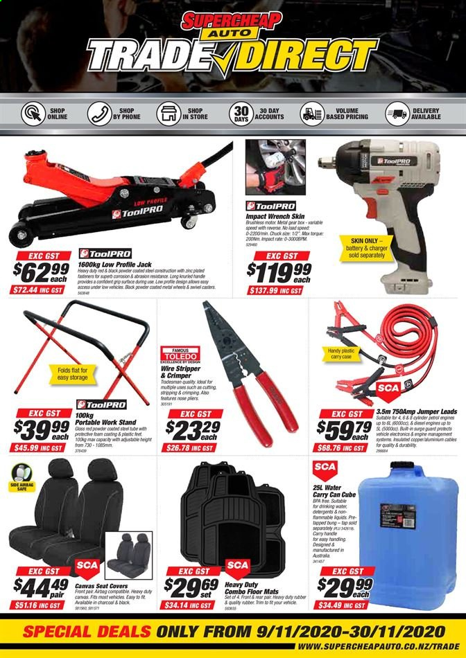 SuperCheap Auto mailer - 09.11.2020 - 30.11.2020 - Sales products - battery, case, powder, charger, water, wrench, gear, seat covers, vehicle, phone, canvas, heavy duty, rubber. Page 1.
