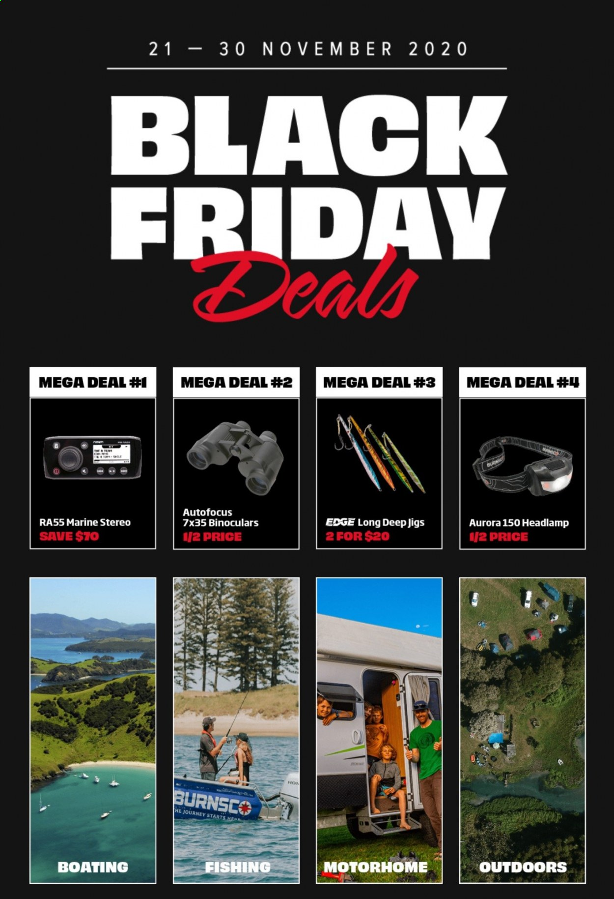 Burnsco mailer - 21.11.2020 - 30.11.2020 - Sales products - binoculars, headlamp, fishing, black friday. Page 1.