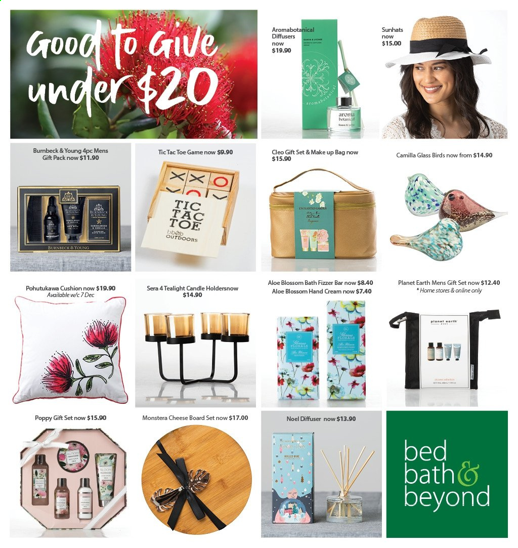 Bed Bath & Beyond mailer - 01.12.2020 - 24.12.2020 - Sales products - cushion, tealight, hand cream, gift set, candle, diffuser, bag, cheese, fizzer, Blossom. Page 1.