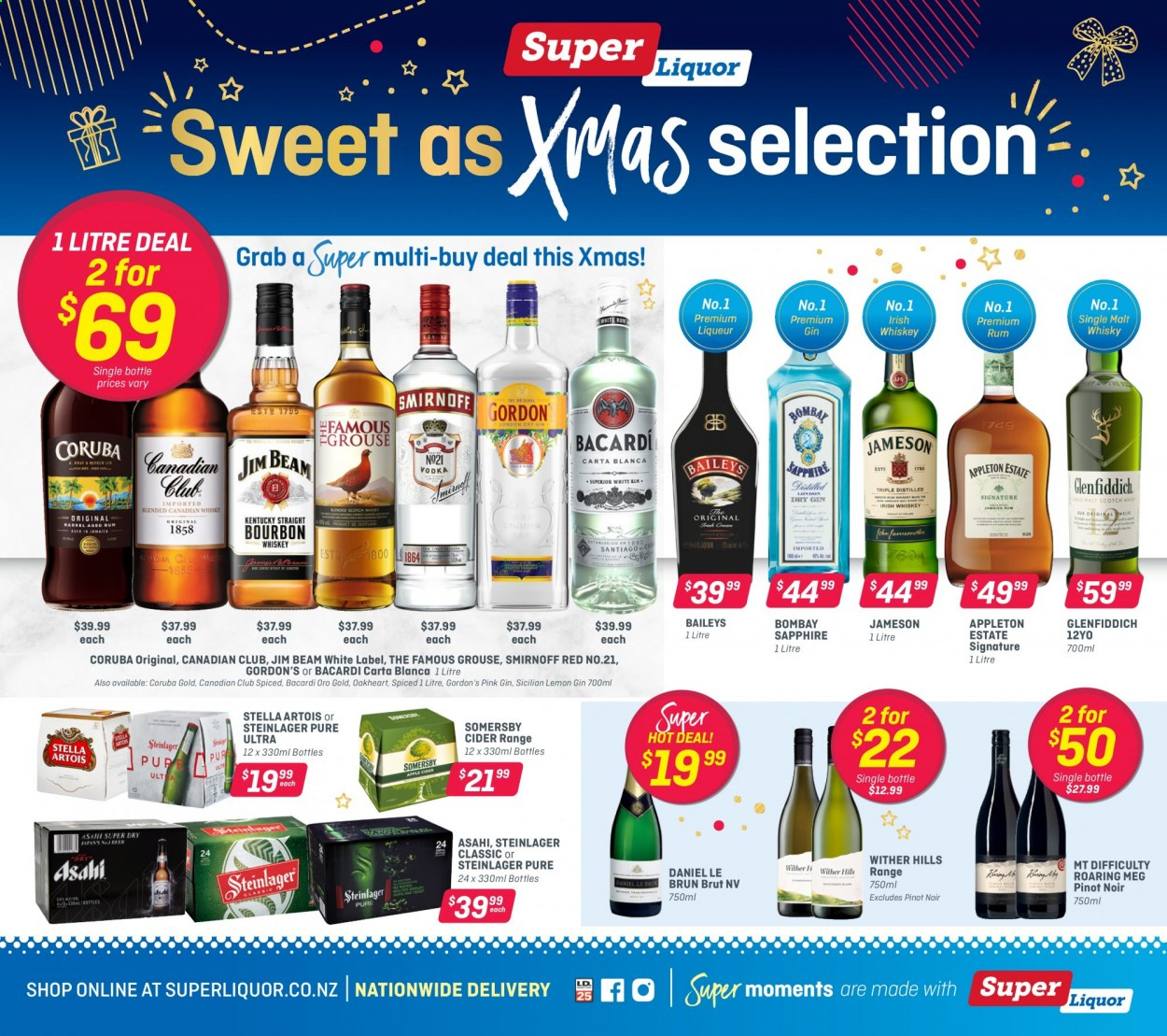 Super Liquor mailer - 14.12.2020 - 03.01.2021 - Sales products - Stella Artois, wine, Pinot Noir, Daniel Le Brun, Wither Hills, apple cider, Bacardi, gin, liqueur, rum, Smirnoff, whiskey, Jameson, Baileys, Gordon's, Glenfiddich, The Famous Grouse, Jim Beam. Page 1.
