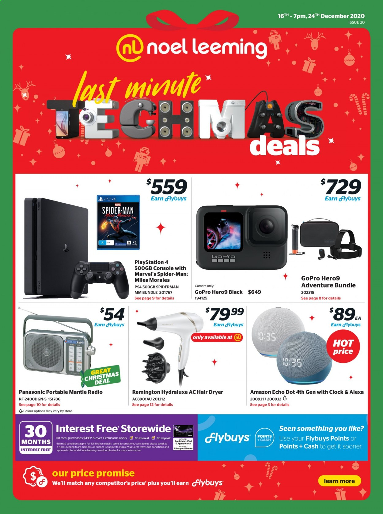 Noel Leeming mailer - 16.12.2020 - 24.12.2020 - Sales products - Panasonic, Apple, iPad, Apple Watch, PlayStation, PlayStation 4, camera, GoPro, radio, Amazon Echo Dot, Amazon Echo, Marvel, Remington, hair dryer, Spiderman. Page 1.