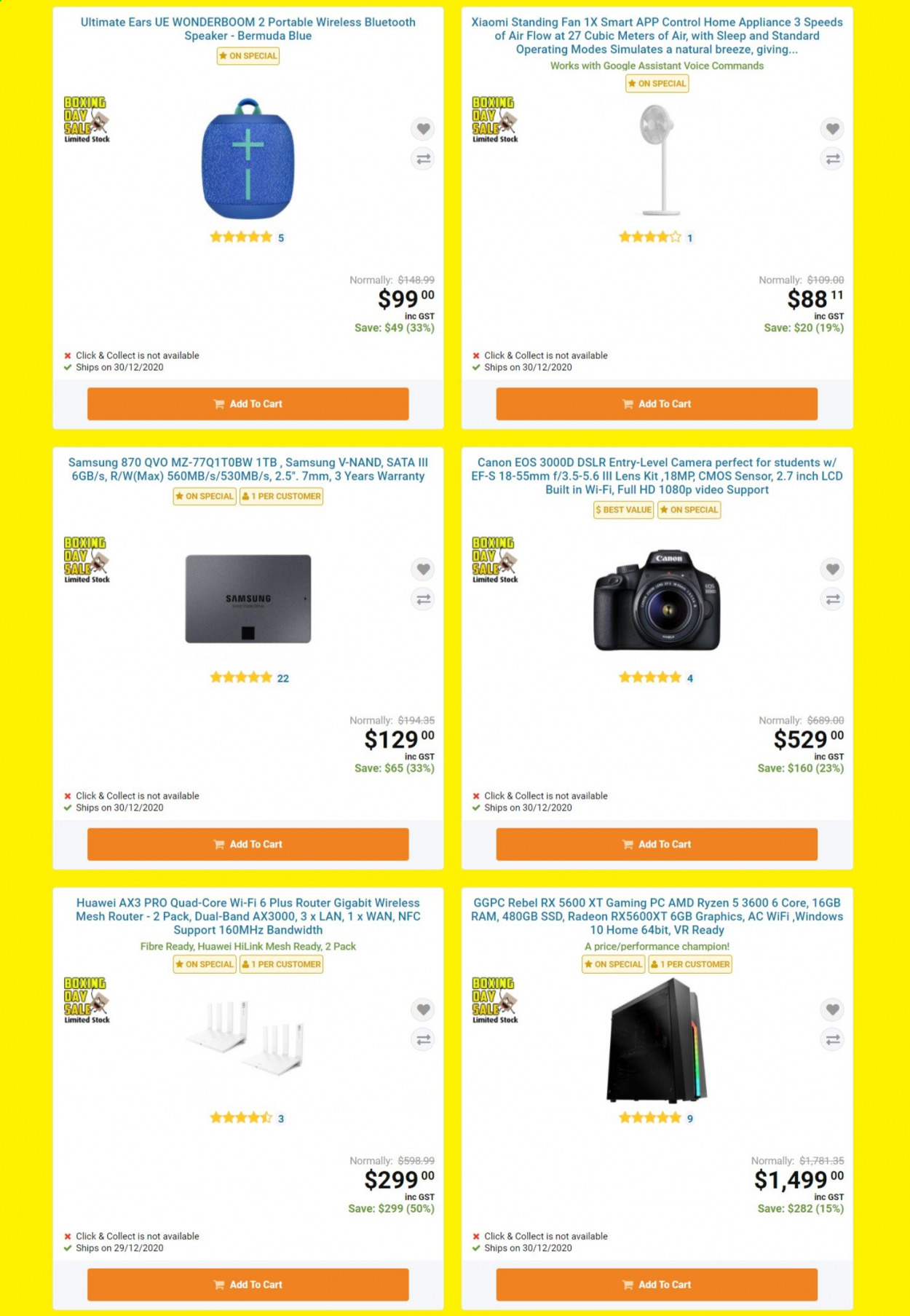 PB Tech mailer - 24.12.2020 - 31.12.2020 - Sales products - amd, camera, Canon, cart, full hd, lens, Radeon, router, Samsung, speaker, Ultimate Ears, wifi, windows, huawei, Champion, Xiaomi, ryzen, ssd. Page 3.