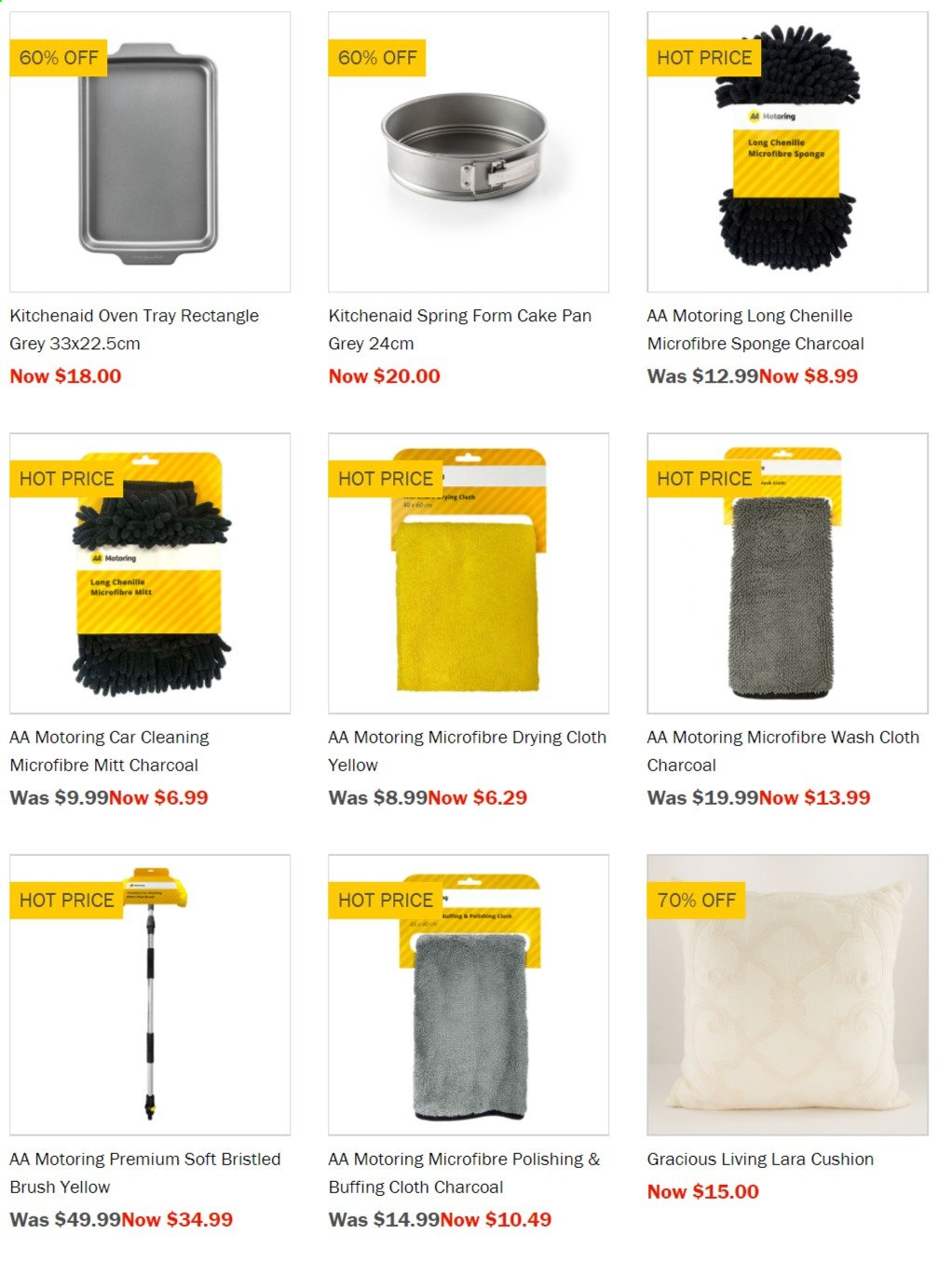 Briscoes mailer - Sales products - cushion, KitchenAid, tray, pan, cake pan, oven, charcoal, sponge, brush. Page 1.