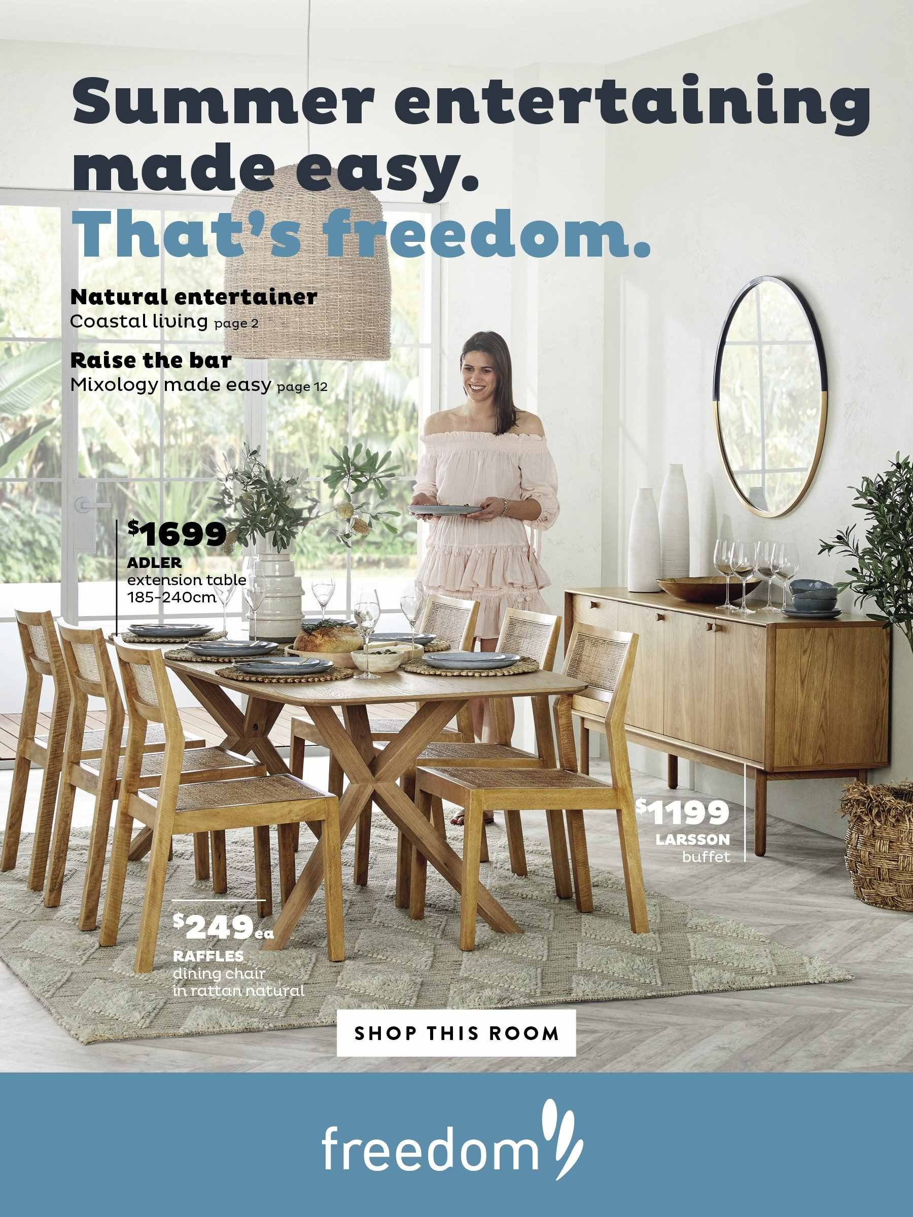 Freedom Furniture mailer - Sales products - table, chair. Page 1.