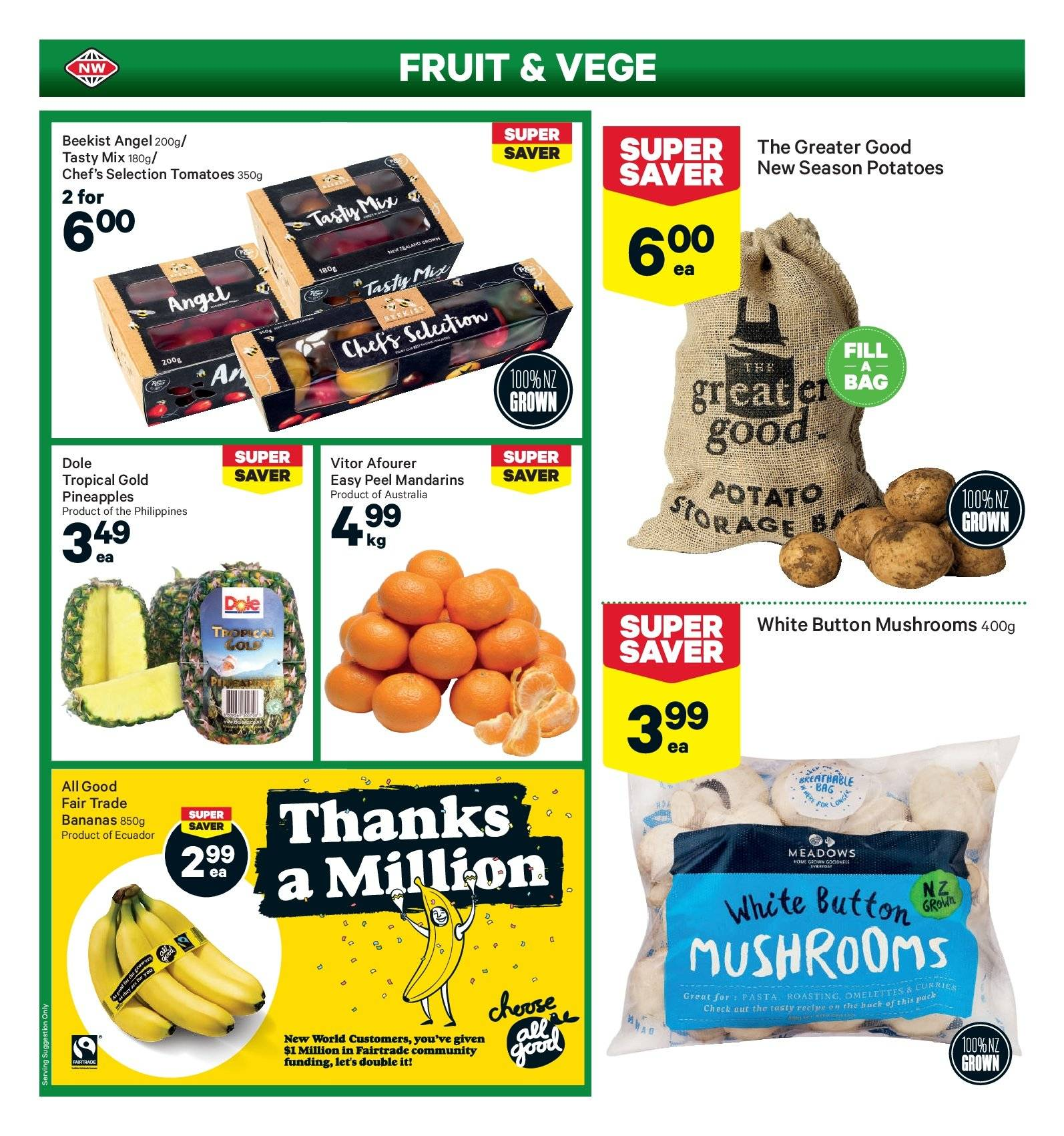 New World mailer - 29.10.2018 - 04.11.2018 - Sales products - angel, bag, bananas, mushrooms, tomatoes, pineapple, potatoes, pasta, fruit, dole. Page 2.