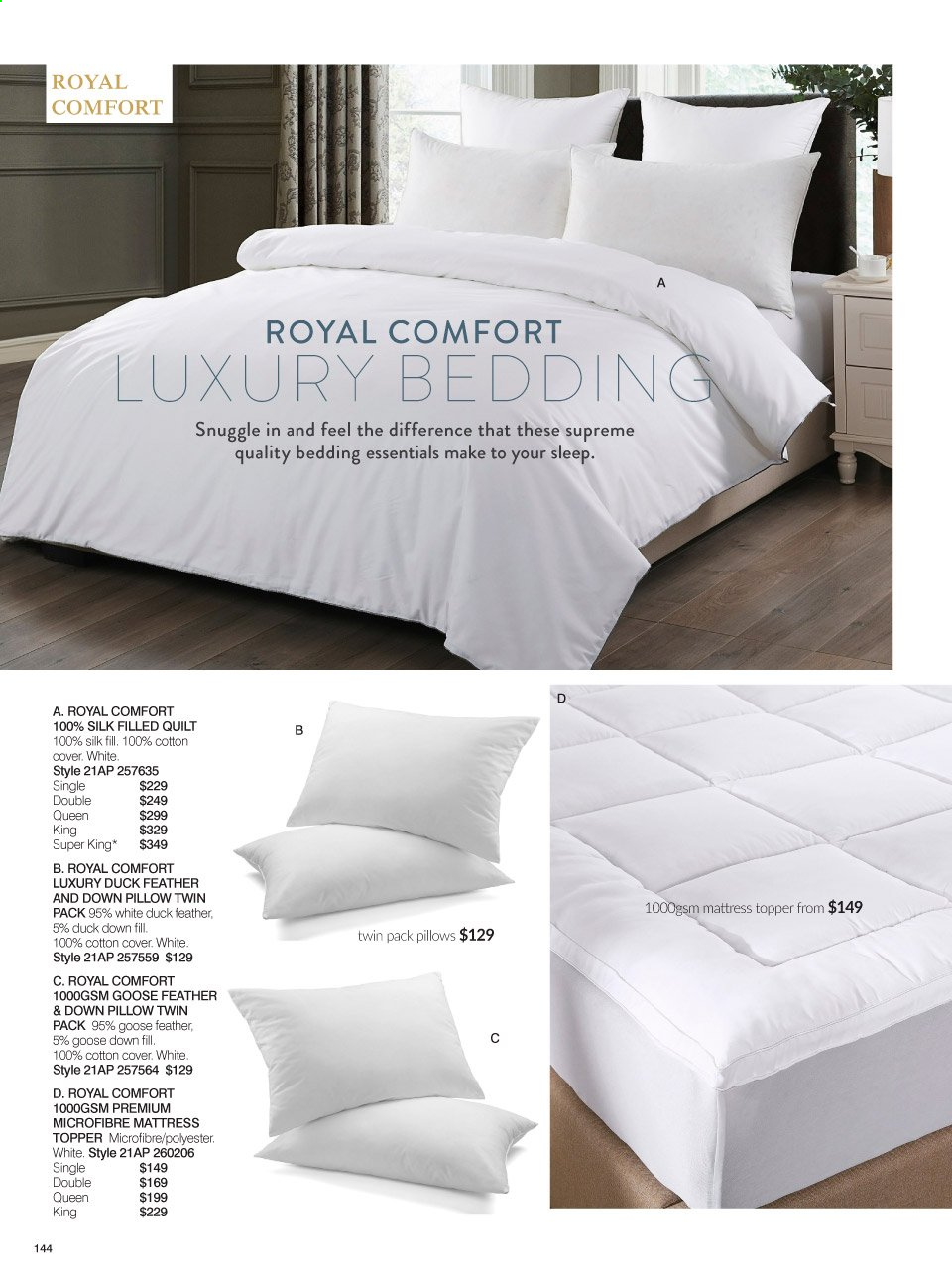 Ezibuy mailer - 20.01.2021 - 14.02.2021 - Sales products - bedding collection, pillow, quilt, mattress protector, essentials. Page 144.