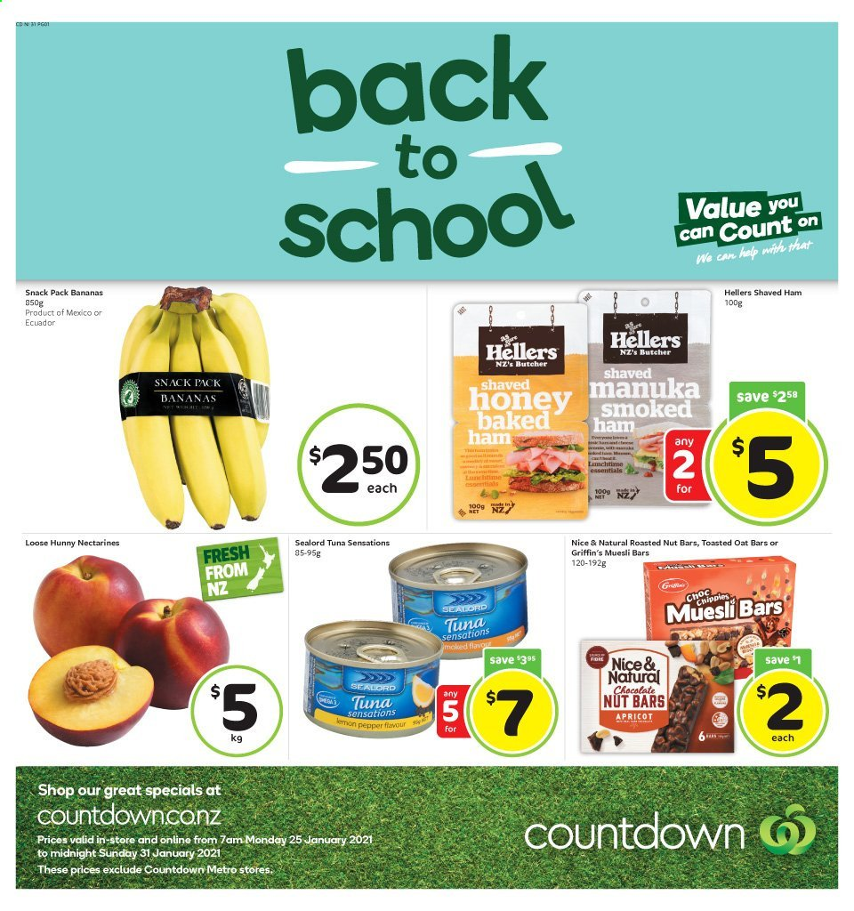 Countdown mailer - 25.01.2021 - 31.01.2021 - Sales products - bananas, nectarines, tuna, ham, chocolate, snack, oats, nut bar, pepper, honey, apricot. Page 1.