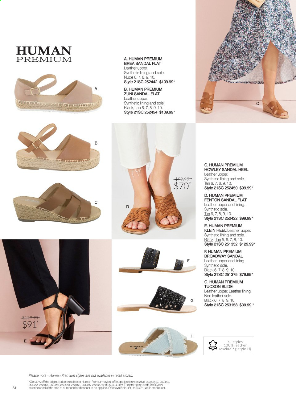 Ezibuy mailer - 16.02.2021 - 14.03.2021 - Sales products - sandals, Human Premium. Page 34.