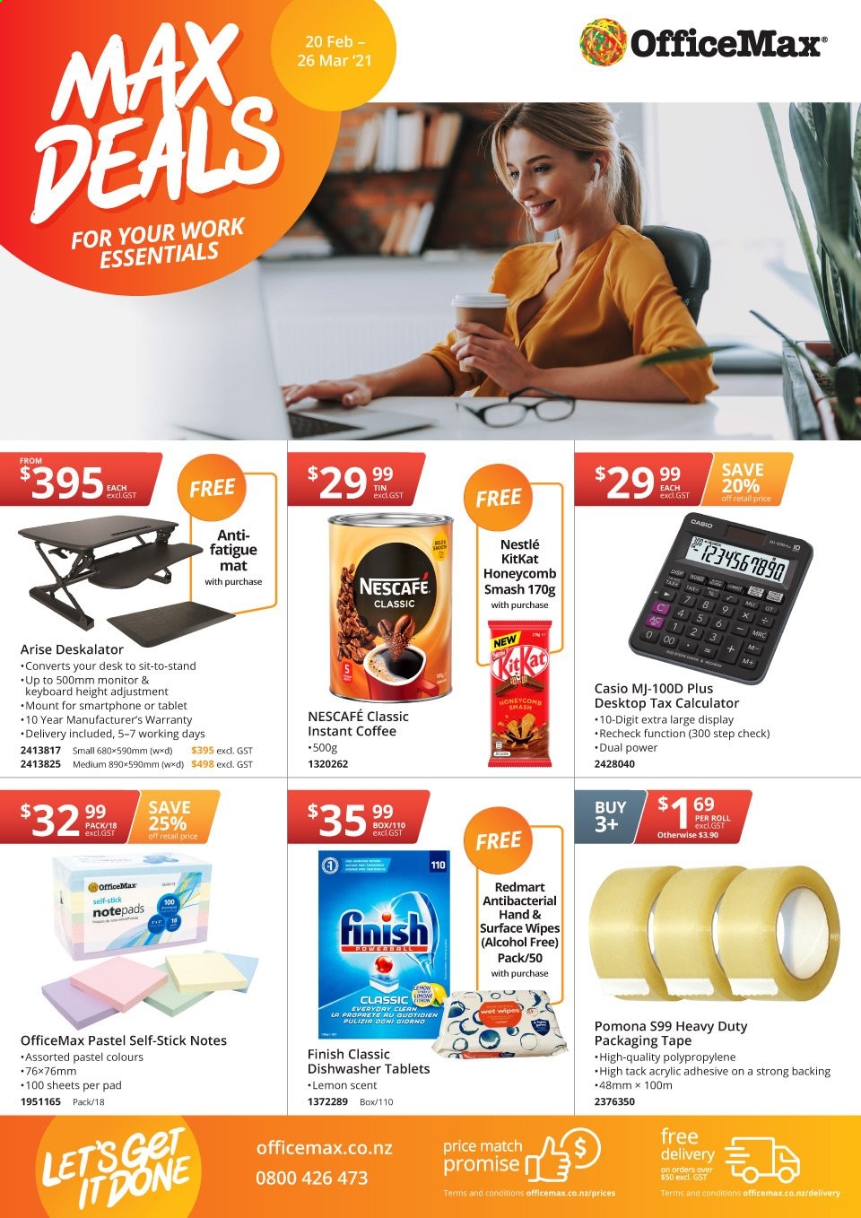 OfficeMax mailer - 20.02.2021 - 26.03.2021 - Sales products - instant coffee, Nescafé, wipes, calculator, adhesive, KitKat, essentials, smart phone. Page 1.