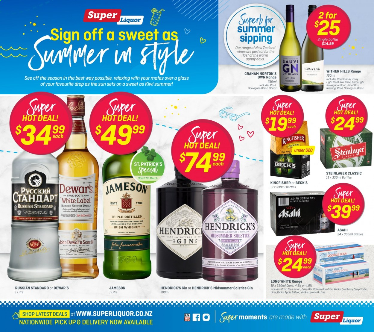 Super Liquor mailer - 01.03.2021 - 14.03.2021 - Sales products - Riesling, Chardonnay, wine, Pinot Noir, Wither Hills, Shiraz, Sauvignon Blanc, gin, vodka, Jameson, Hendrick's, Norton. Page 1.
