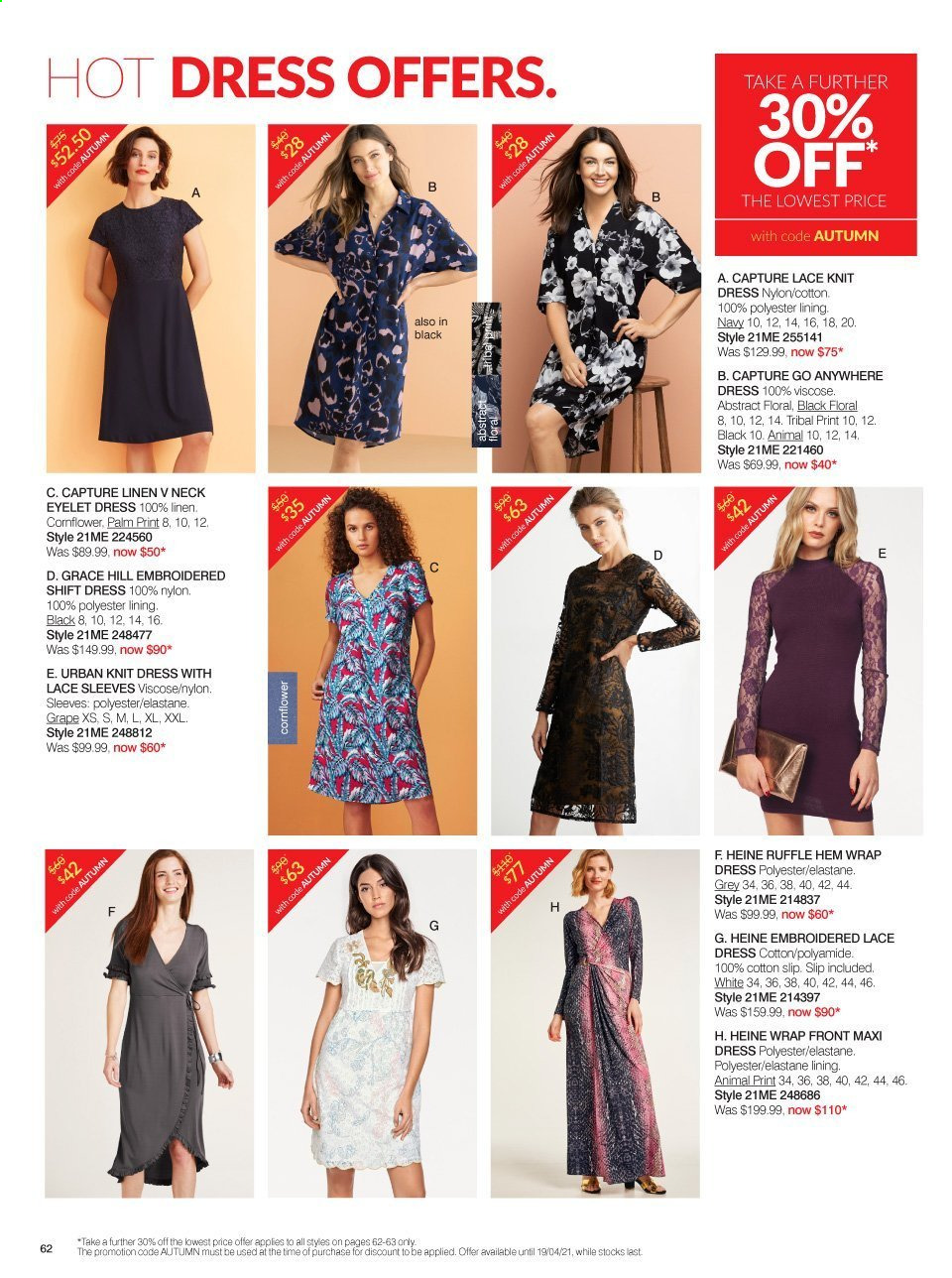 Ezibuy mailer - 09.03.2021 - 19.04.2021 - Sales products - dress, wrap. Page 62.
