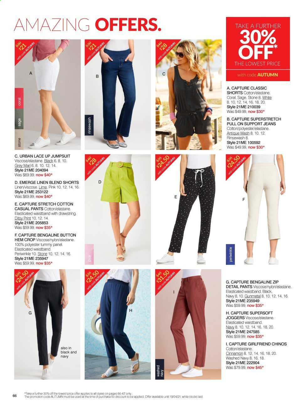 Ezibuy mailer - 09.03.2021 - 19.04.2021 - Sales products - jeans, pants, jumpsuit, shorts. Page 66.