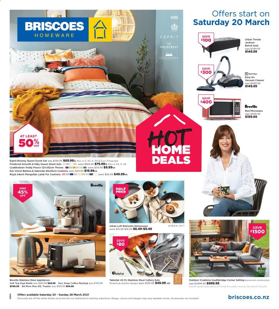 Briscoes mailer - 20.03.2021 - 28.03.2021 - Sales products - cushion, dinnerware set, cutlery set, bench seat, duvet, sheet, queen sheet, microwave oven, coffee maker, vacuum cleaner, toaster, kettle. Page 1.