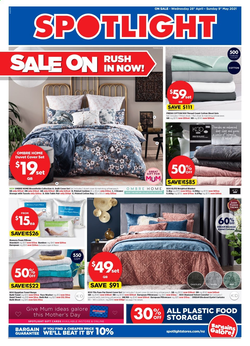 Spotlight mailer - 28.04.2021 - 09.05.2021 - Sales products - blanket, cushion, duvet, sheet, pillow, pillowcases, quilt, foam pillow, curtains, quilt cover set, bath mat, bath sheet, bath towel, towel, hand towel. Page 1.