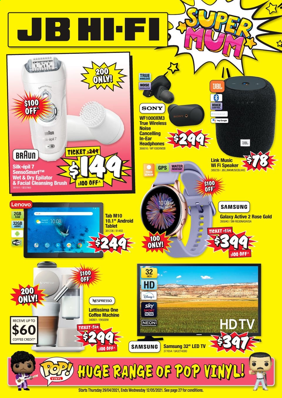 JB Hi-Fi mailer - 29.04.2021 - 12.05.2021 - Sales products - Sony, Lenovo, tablet, Samsung, LED TV, HDTV, TV, hi-fi, speaker, JBL, headphones, Braun, coffee machine, Nespresso, epilator, water. Page 1.