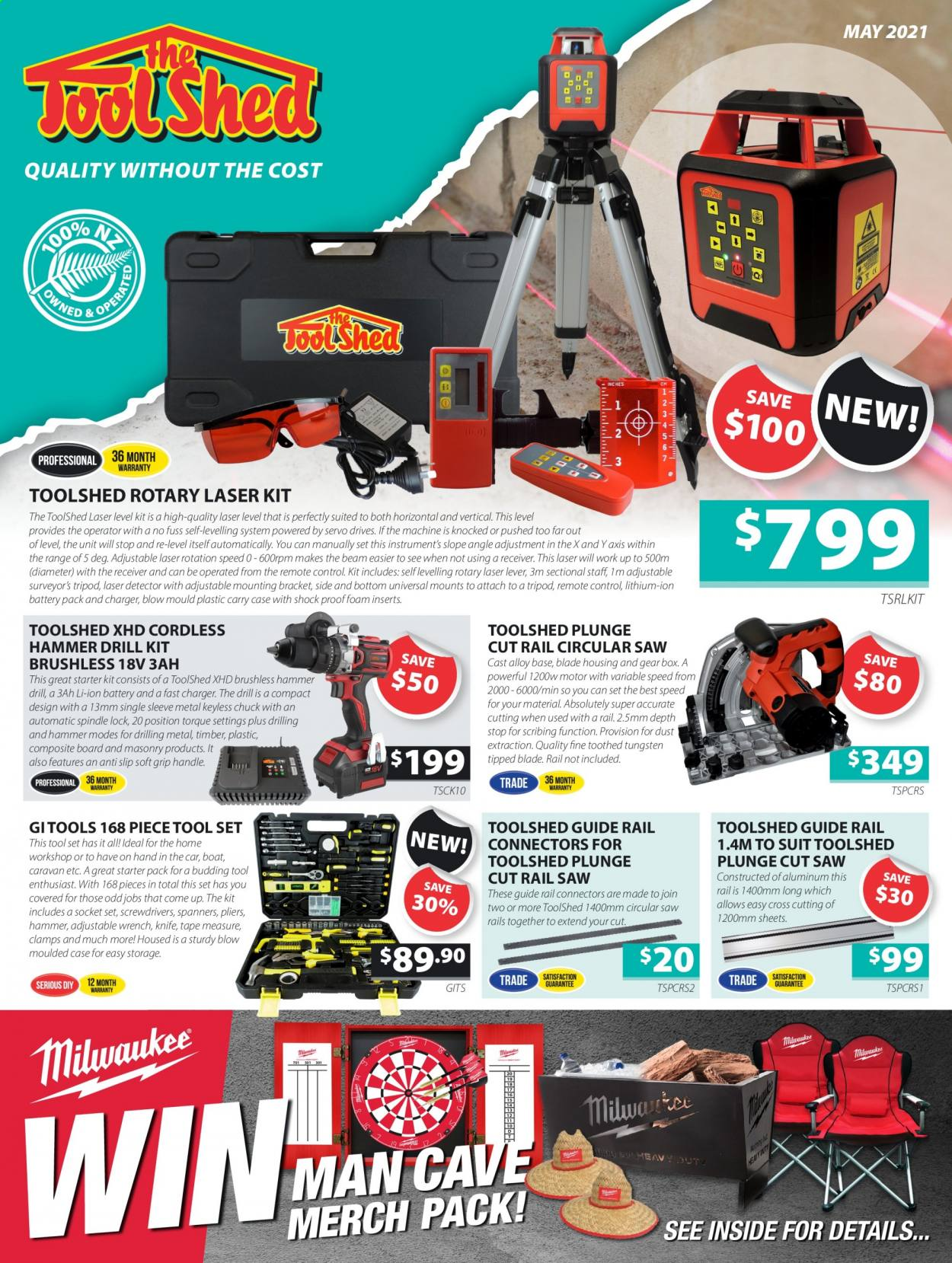 The Tool Shed mailer - 01.05.2021 - 31.05.2021 - Sales products - socket, drill, hammer, circular saw, saw, pliers, socket set, wrench, tool set, measuring tape. Page 1.