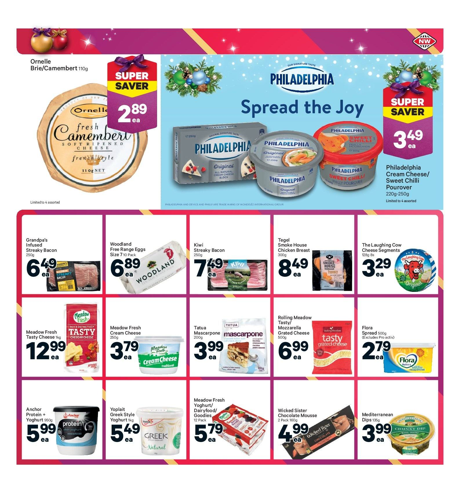 New World mailer - 10.12.2018 - 16.12.2018 - Sales products - bacon, brie, camembert, cream, cream cheese, eggs, mascarpone, mozzarella, honey, philadelphia, protein, cheddar, chicken, chocolate, cheese. Page 37.