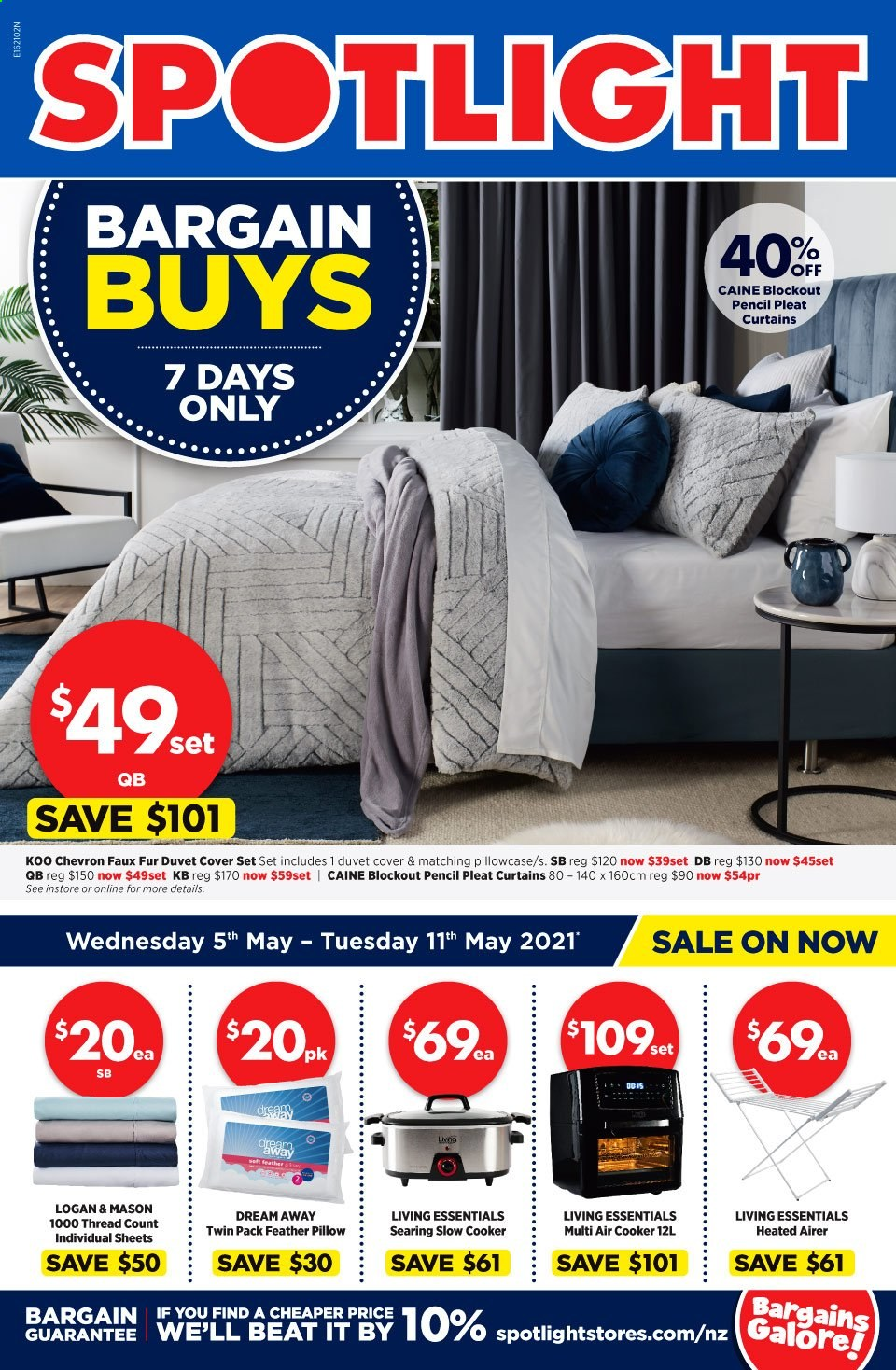 Spotlight mailer - 05.05.2021 - 11.05.2021 - Sales products - airer, pencil, duvet, sheet, pillow, pillowcases, curtains, quilt cover set, essentials. Page 1.