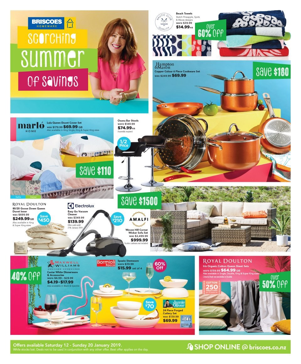 Briscoes mailer - 12.01.2019 - 20.01.2019 - Sales products - bar stool, sofa, cookware set, dinnerware set, cutlery set, duvet, sheet, queen sheet, quilt cover set, vacuum cleaner, cleaner. Page 1.