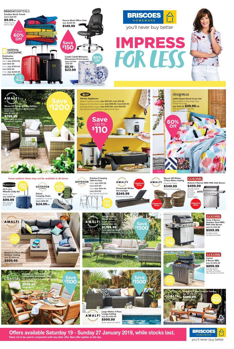 Briscoes mailer - 19.01.2019 - 27.01.2019 - Sales products - table, chair, sofa, dinnerware set, cup, serveware, frypan, duvet, quilt cover set, slow cooker, gas grill, apples. Page 1.