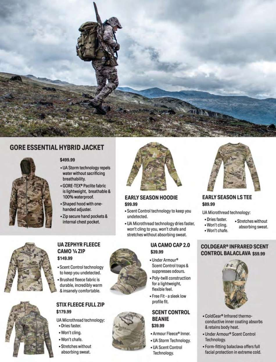 acb781328a50d Hunting & Fishing mailer - Sales products - beanie, cap, tee, under armour