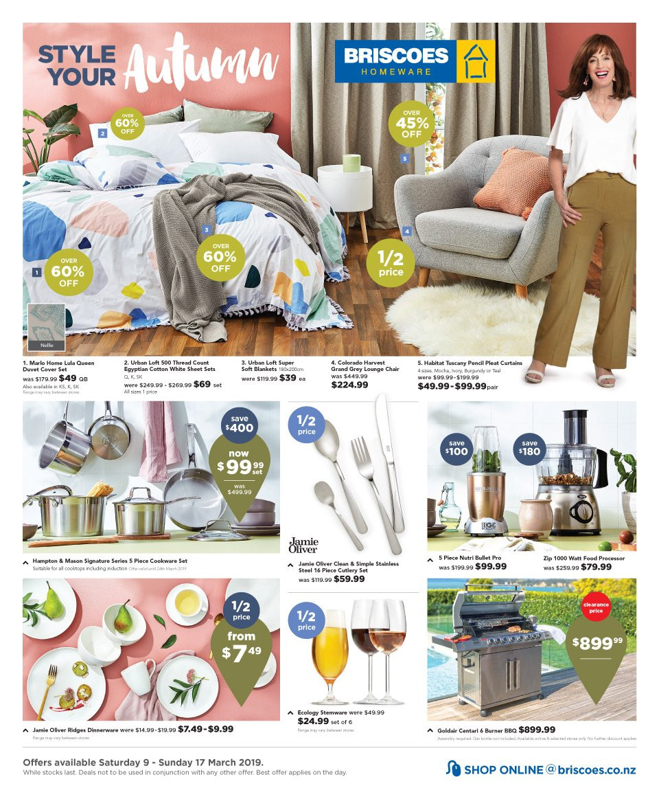 Briscoes mailer - 09.03.2019 - 17.03.2019 - Sales products - chair, cookware set, dinnerware set, cutlery set, Hampton & Mason, blanket, duvet, sheet, curtains, quilt cover set, pencil. Page 1.