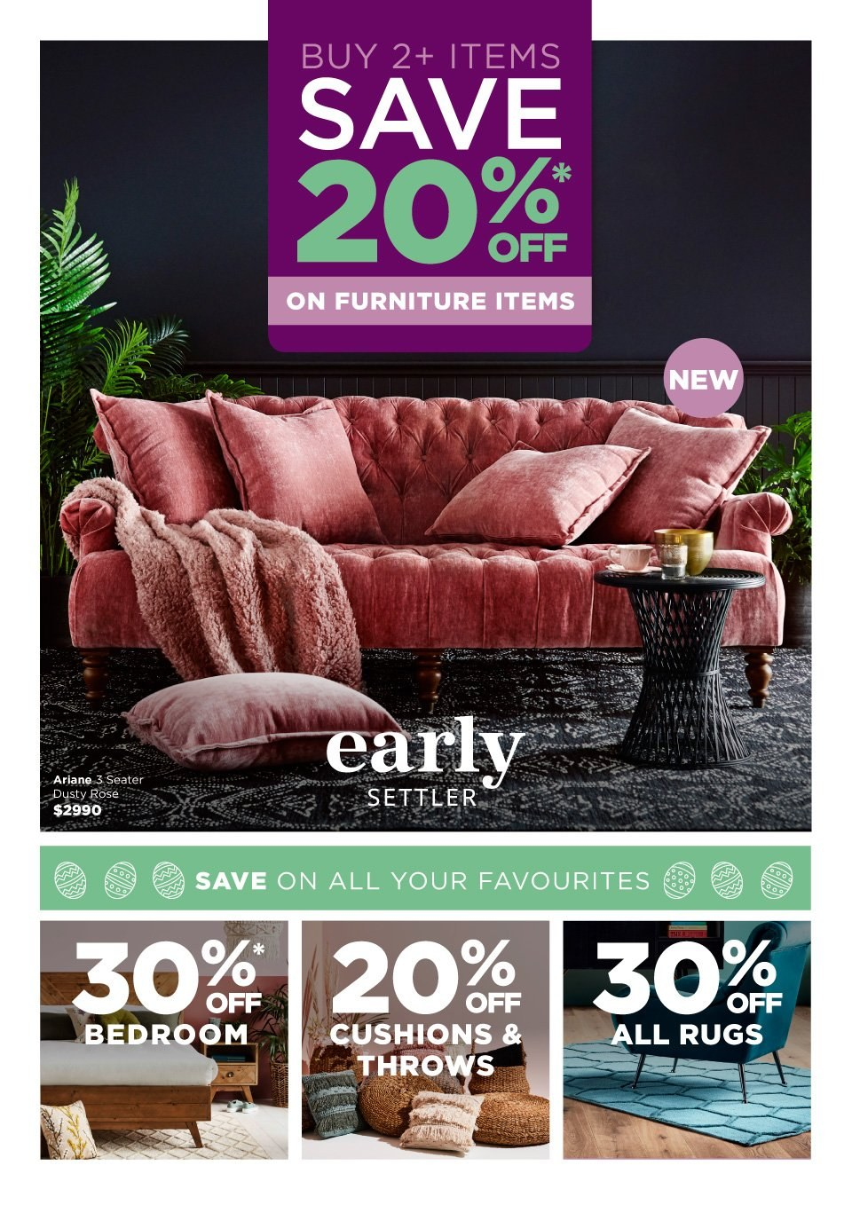 Early Settler mailer - 01.04.2019 - 22.04.2019 - Sales products - furniture, rug, throw. Page 1.