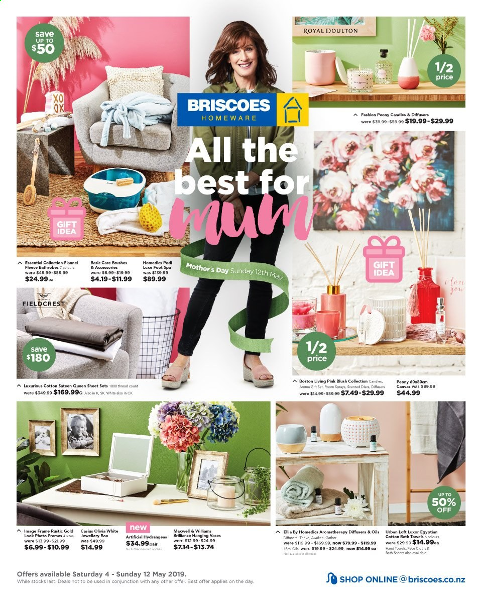 Briscoes mailer - 04.05.2019 - 12.05.2019 - Sales products - vase, candle, diffuser, sheet, queen sheet, satin, bath towel, towel, foot spa, photo frame. Page 1.