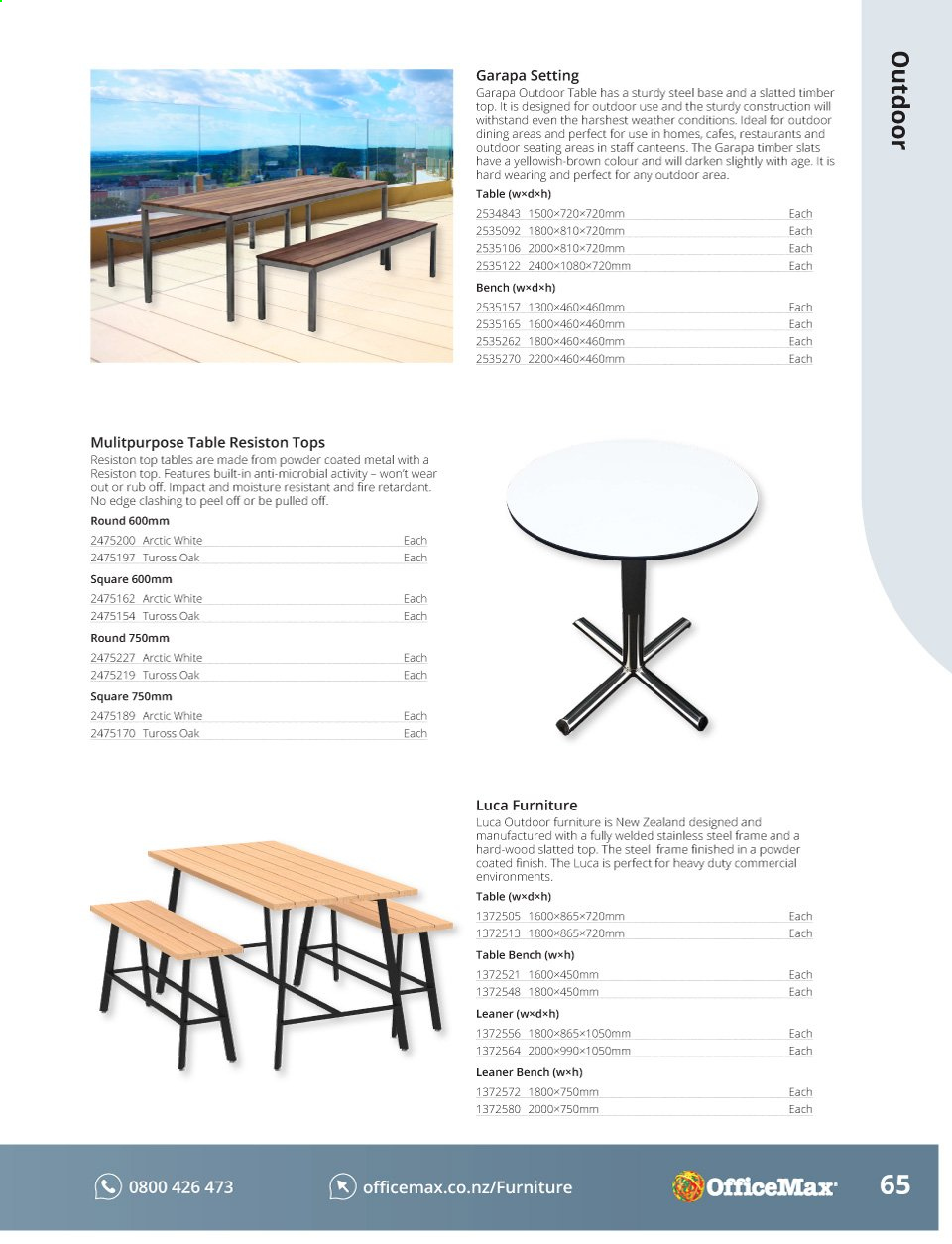 OfficeMax mailer - Sales products - bench, frame, furniture, moisture, table, powder, outdoor furniture. Page 67.