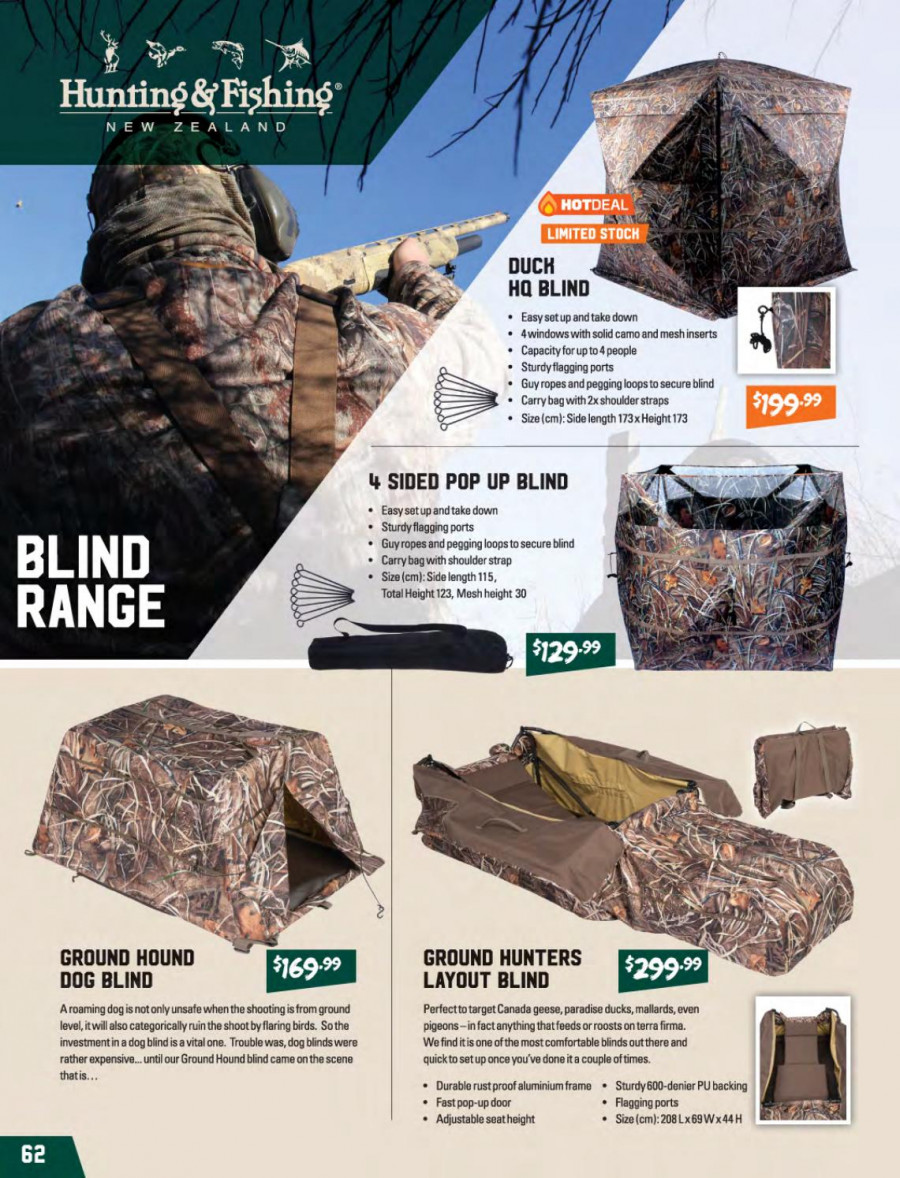 Hunting & Fishing mailer - 01.03.2018 - 31.08.2018 - Sales products - blinds, carry bag. Page 62.