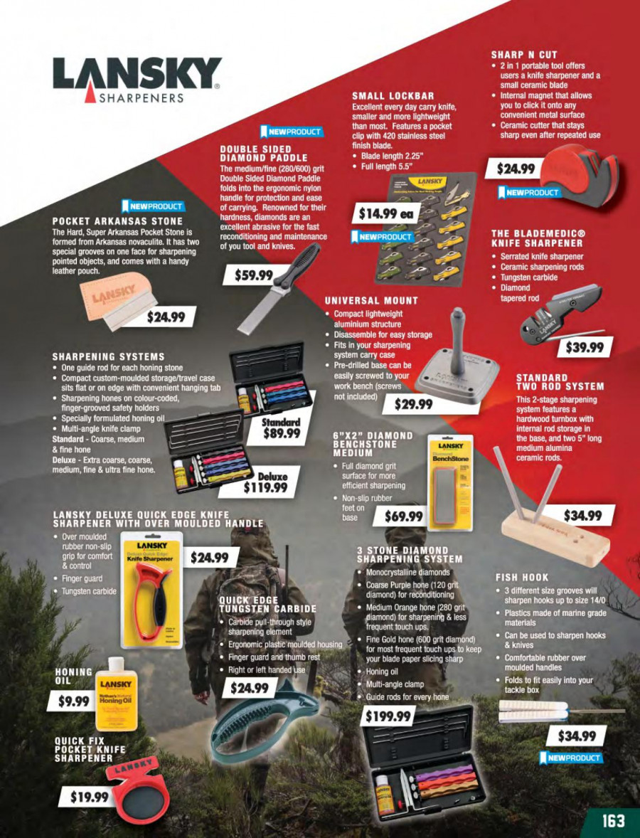 Hunting & Fishing mailer - 01.03.2018 - 31.08.2018 - Sales products - knife, knife sharpener, paper, rubber. Page 163.