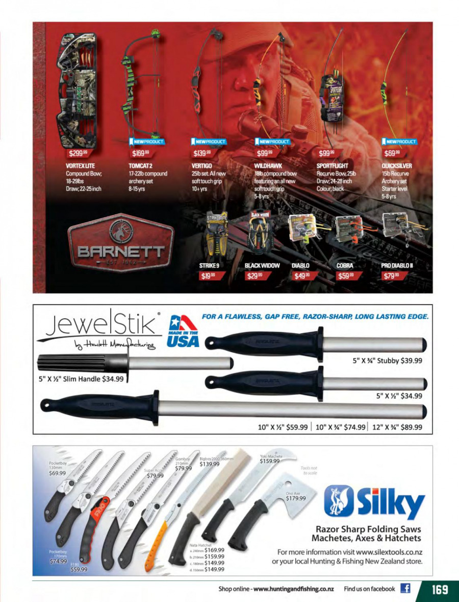 Hunting & Fishing mailer - 01.03.2018 - 31.08.2018 - Sales products - compound bow. Page 169.