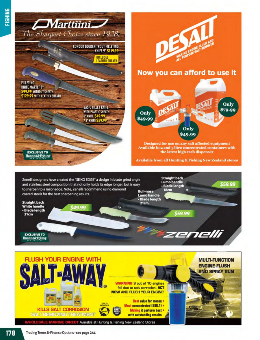 Hunting & Fishing mailer - 01.03.2018 - 31.08.2018 - Sales products - knife, dispenser, salt. Page 178.