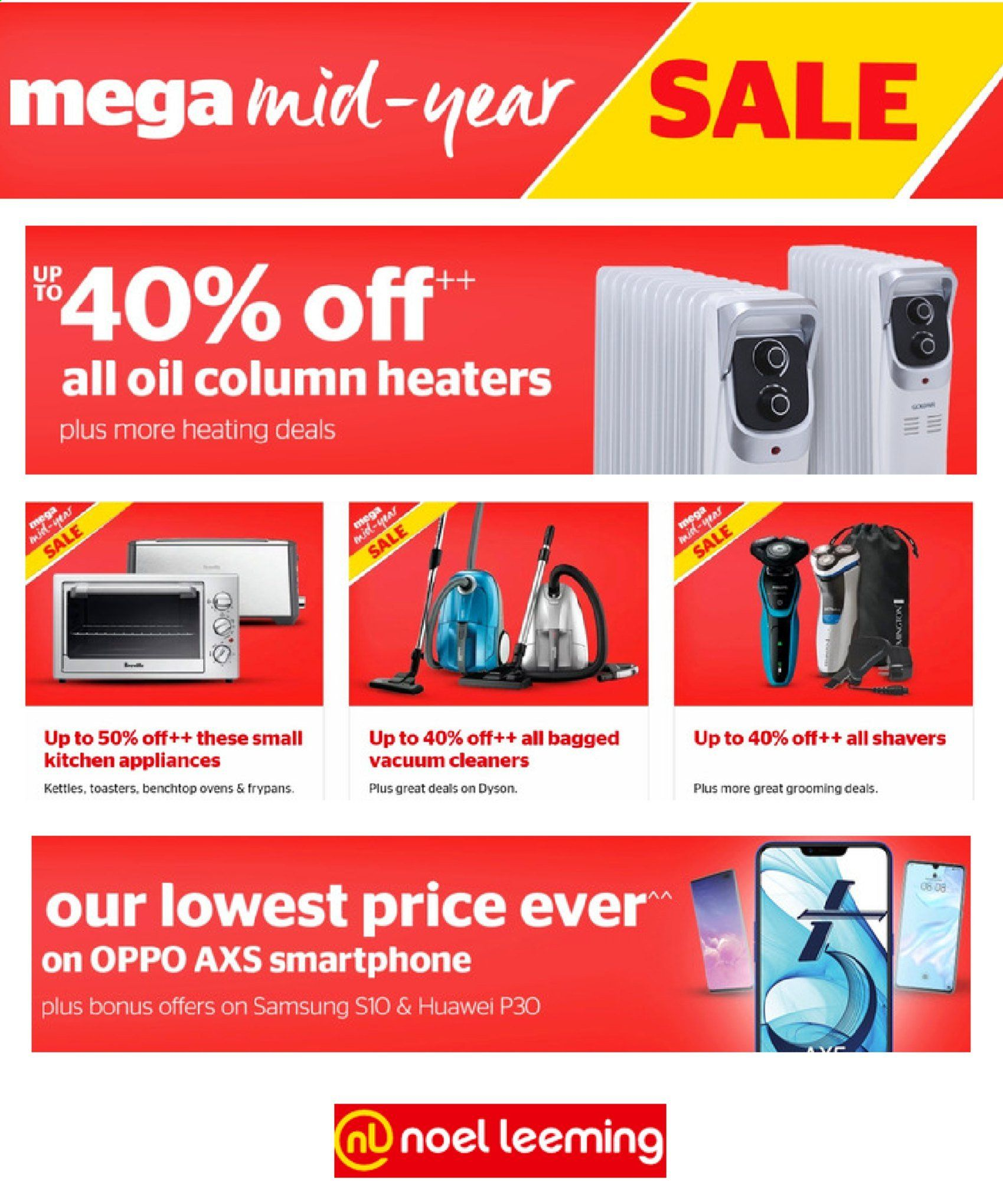 Noel Leeming mailer - Sales products - Huawei, Samsung, Oppo, smart phone, Huawei P30, Samsung Galaxy S10, Dyson, vacuum cleaner. Page 1.