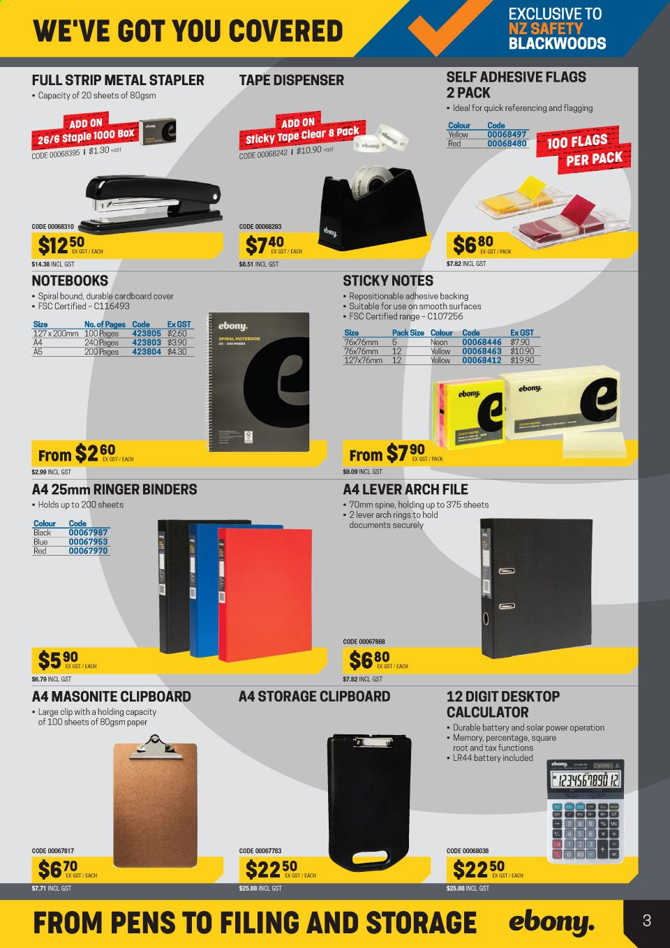 NZ Safety Blackwoods mailer - 01.07.2019 - 31.07.2019 - Sales products - battery, dispenser, tape, paper, stapler, lever arch. Page 44.