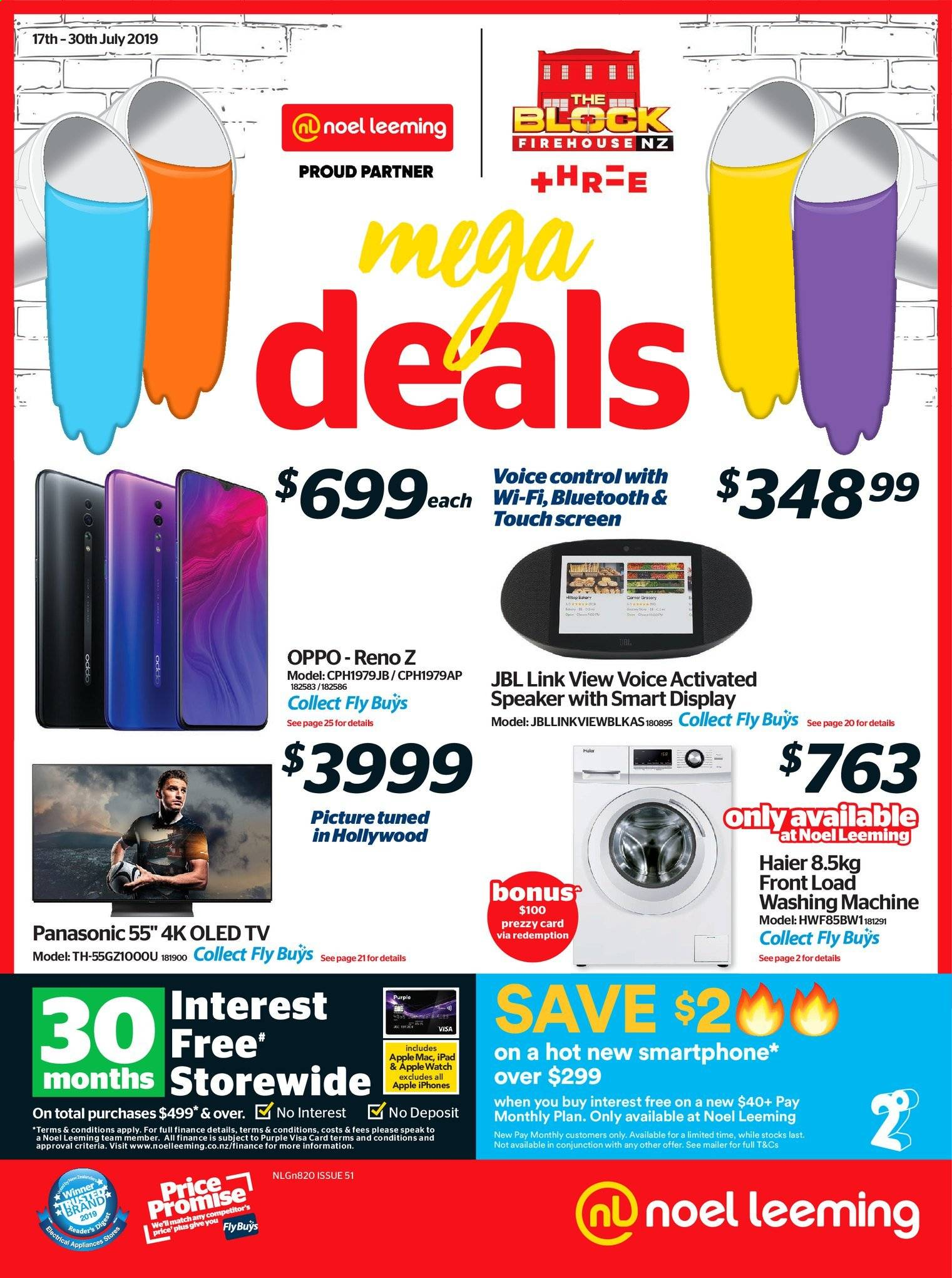 Noel Leeming mailer - 17.07.2019 - 30.07.2019 - Sales products - Panasonic, Apple, iPad, Oppo, Haier, smart phone, Apple Watch, TV, speaker, JBL, washing machine. Page 1.