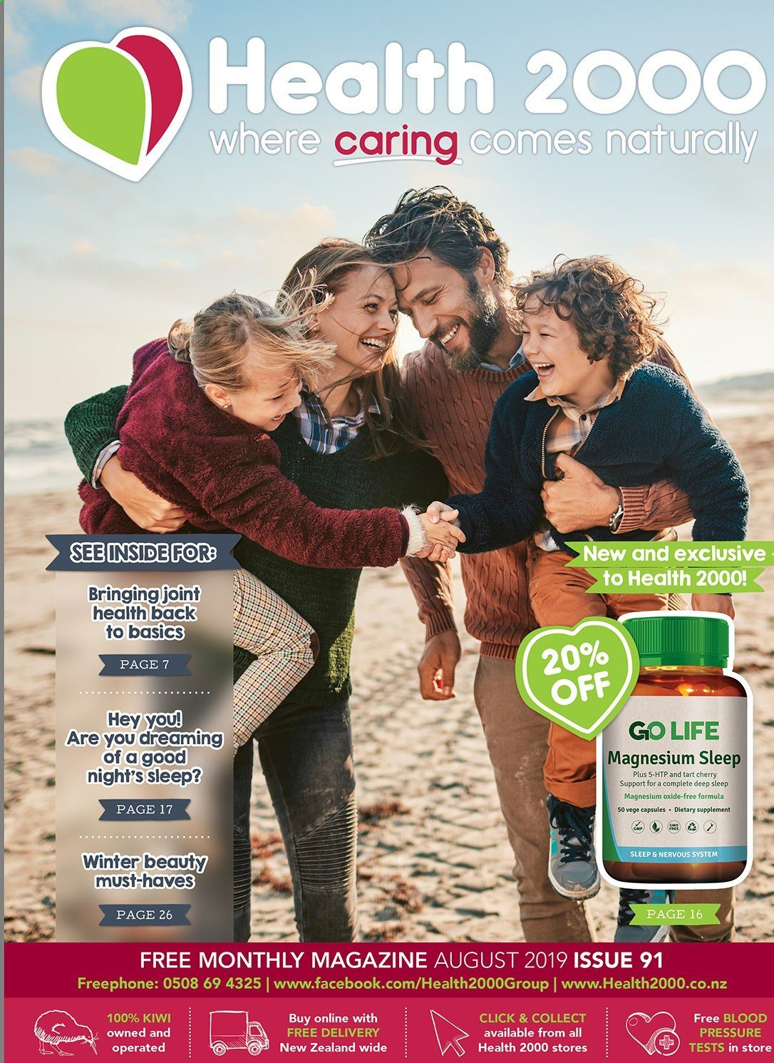 Health 2000 mailer - 01.08.2019 - 31.08.2019 - Sales products - Magnesium, tart. Page 1.