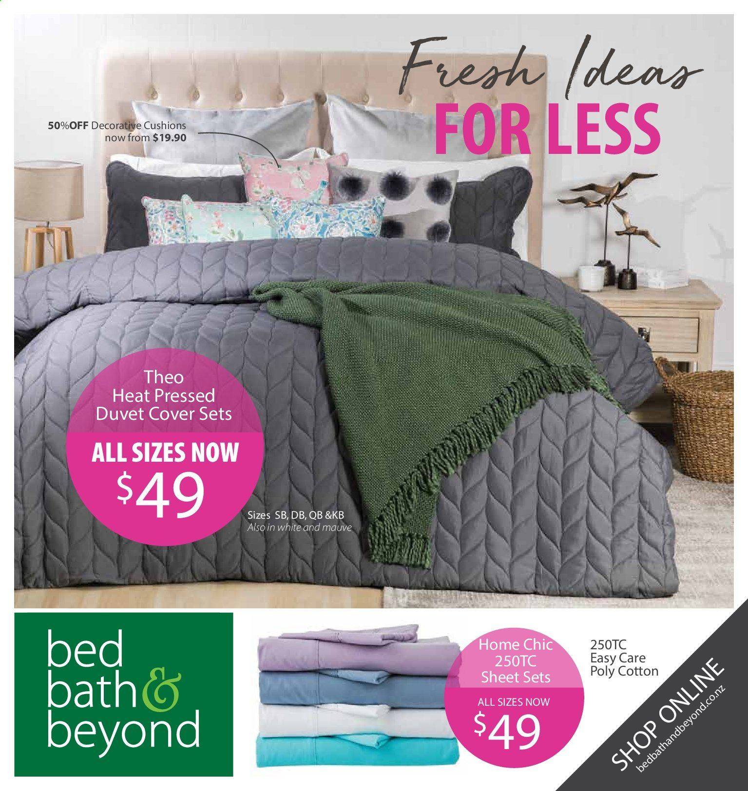 Bed Bath & Beyond mailer - 16.09.2019 - 29.09.2019 - Sales products - bed, cushion, duvet, sheet. Page 1.