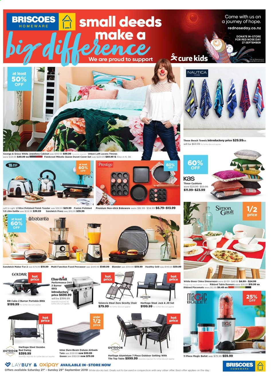 Briscoes mailer - 21.09.2019 - 29.09.2019 - Sales products - chair, bed, cushion, Brabantia, bakeware, toaster, grill, Intex. Page 1.