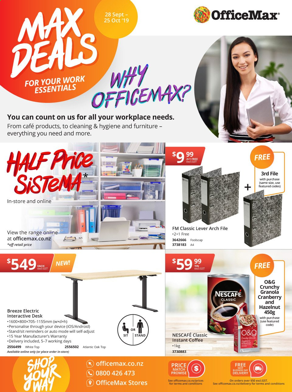 OfficeMax mailer - 28.09.2019 - 25.10.2019 - Sales products - instant coffee, Nescafé, arch files, lever arch, essentials. Page 1.